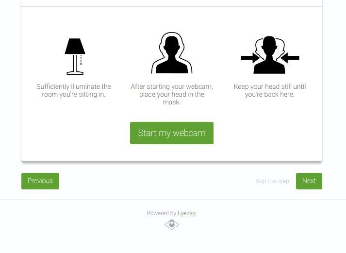 Eyezag Interface zum Starten der Webcam mit aufgelisteten Anforderungen