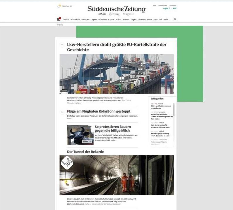 Platzhalter für Werbeanzeige auf News-Portal